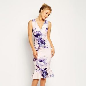 ASOS Dress Floral Pephem Pencil Midi Scuba Sheath